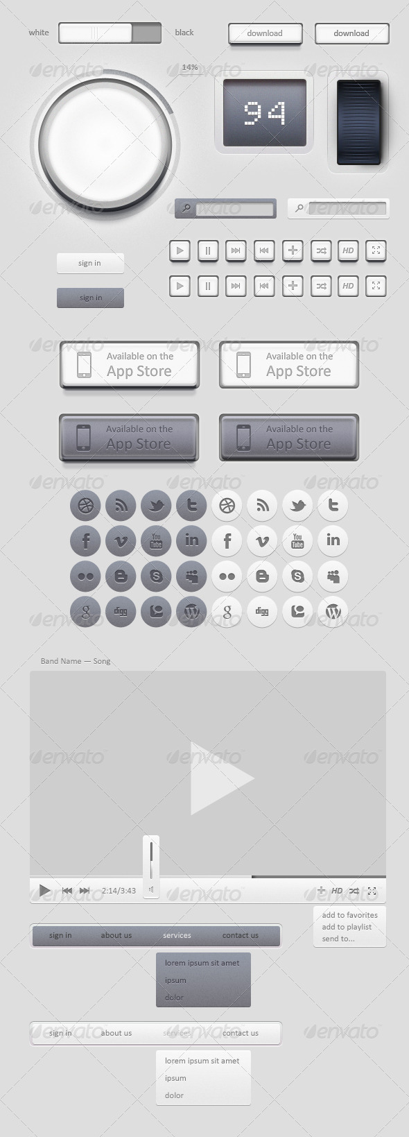 Light GUI Graphical User Interface Set - User Interfaces Web Elements