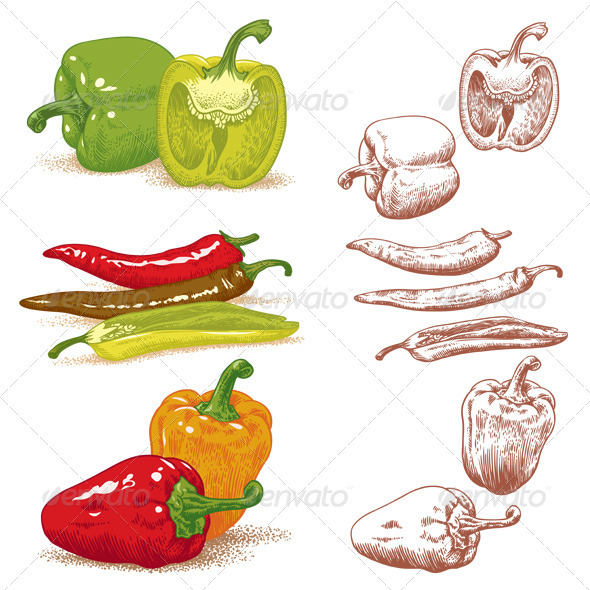 Set Of Peppers - Food Objects