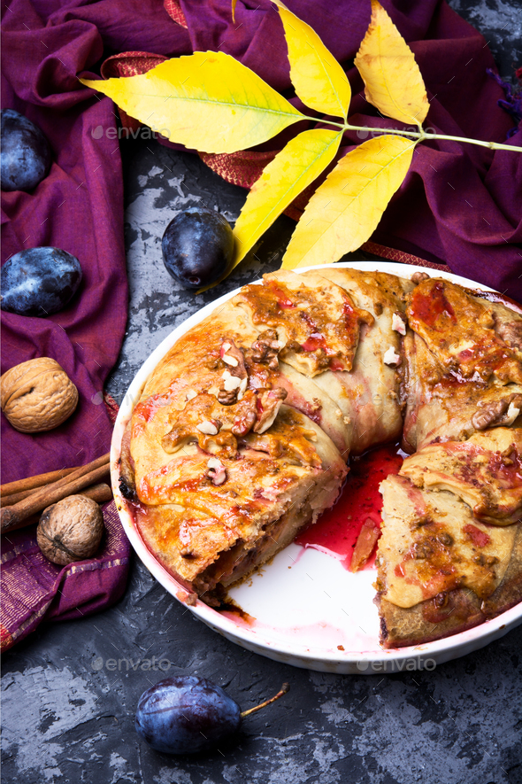 strudel with autumn plum - Stock Photo - Images