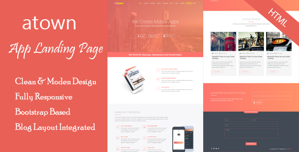 Atown - App Landing Page - Technology Site Templates