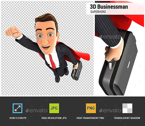 3D Businessman Superhero - Characters 3D Renders