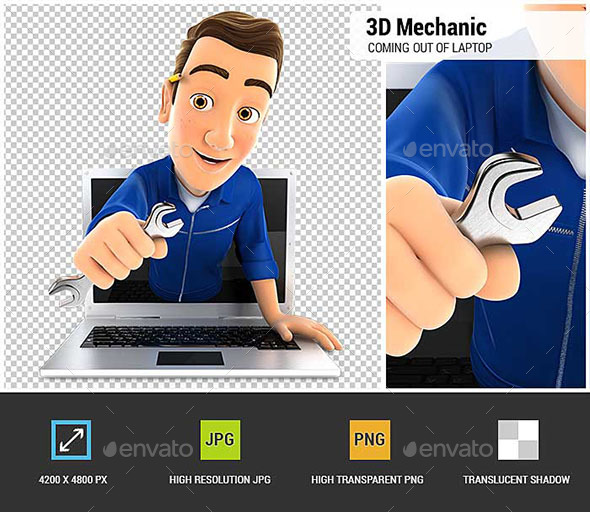 3D Mechanic Coming Out of Laptop with Wrench - Characters 3D Renders