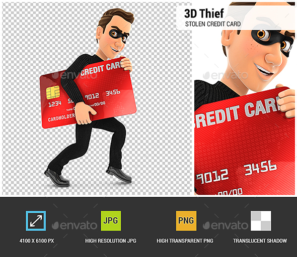 3D Thief with a Stolen Credit Card - Characters 3D Renders
