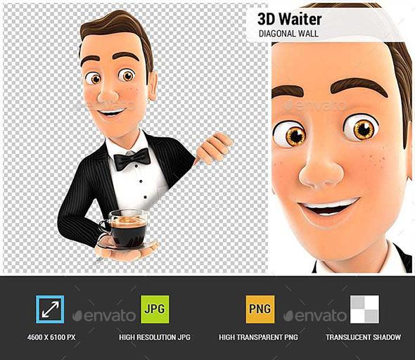 3D Waiter Behind Diagonal Wall - Characters 3D Renders