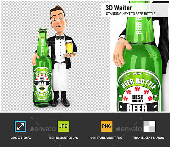 GraphicRiver 3D Waiter Standing Next to Beer Bottle 20663489