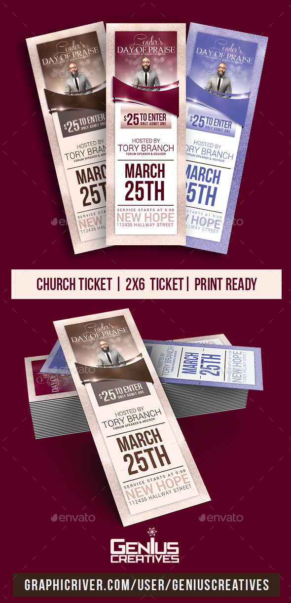 Leader's Day Church Ticket Template - Miscellaneous Print Templates