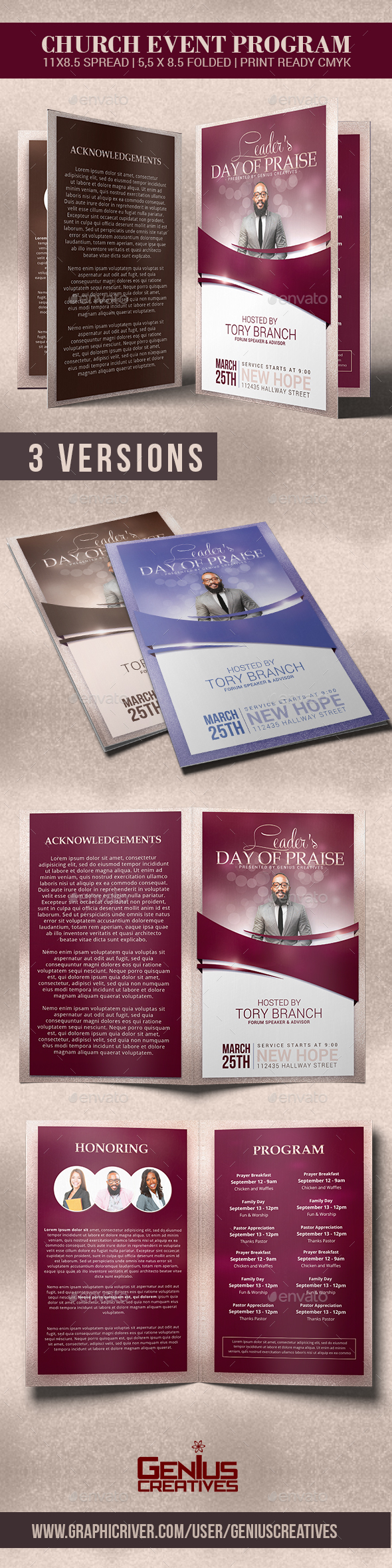 Leader's Day of Praise Church Program Template - Informational Brochures