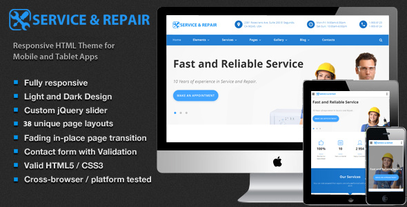 ThemeForest Center repair Home Maintenance Repair Services HTML Template 20374257