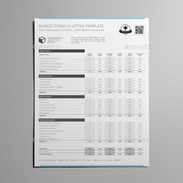 budget form us letter template by keboto graphicriver