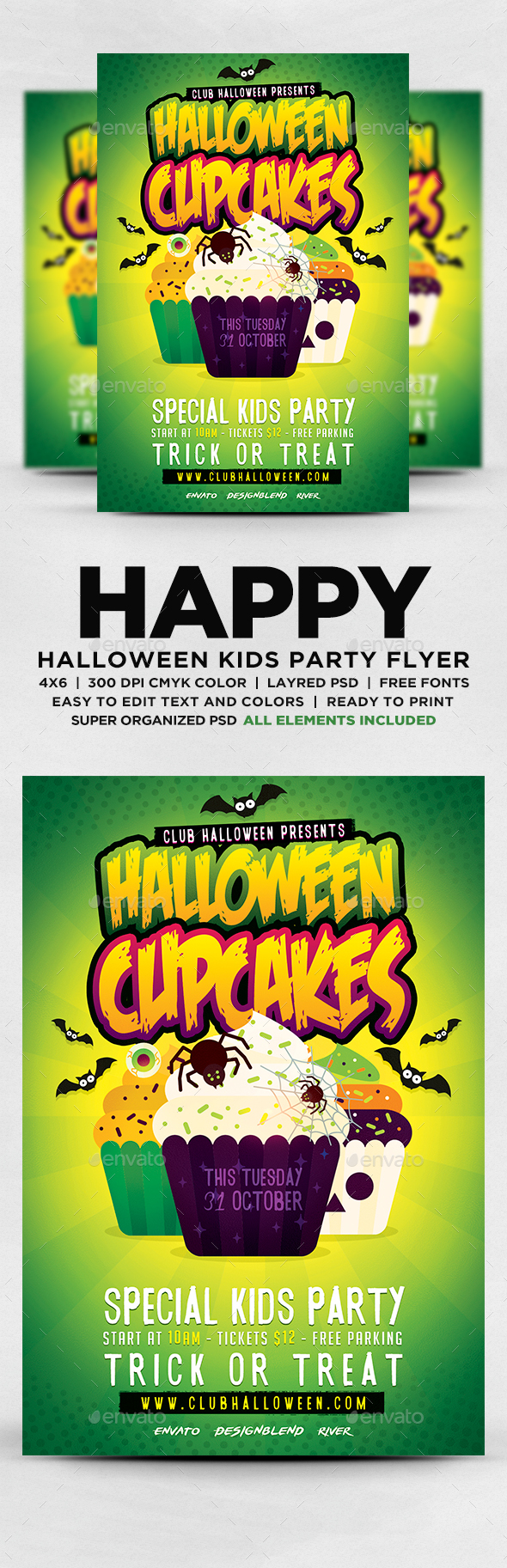 Halloween Cupcakes Kids Party Flyer