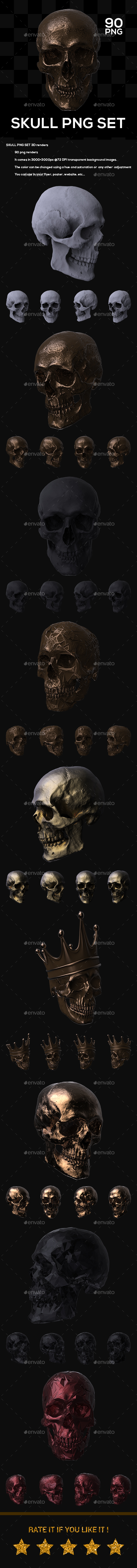 Skull PNG Set - Objects 3D Renders