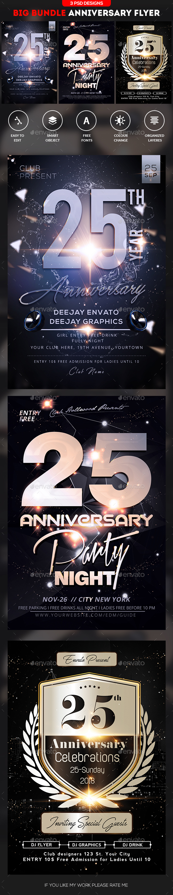 GraphicRiver Anniversary Flyer Bundle 20664216