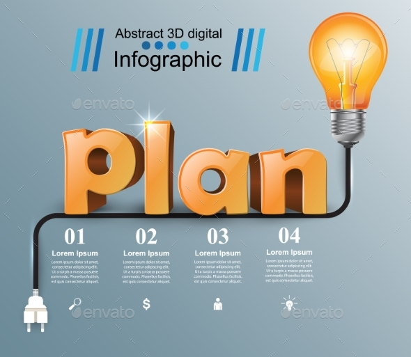 Plan 3D Business Infographic - Miscellaneous Vectors