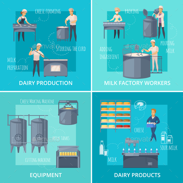 Dairy Production Catroon Design Concept - Food Objects