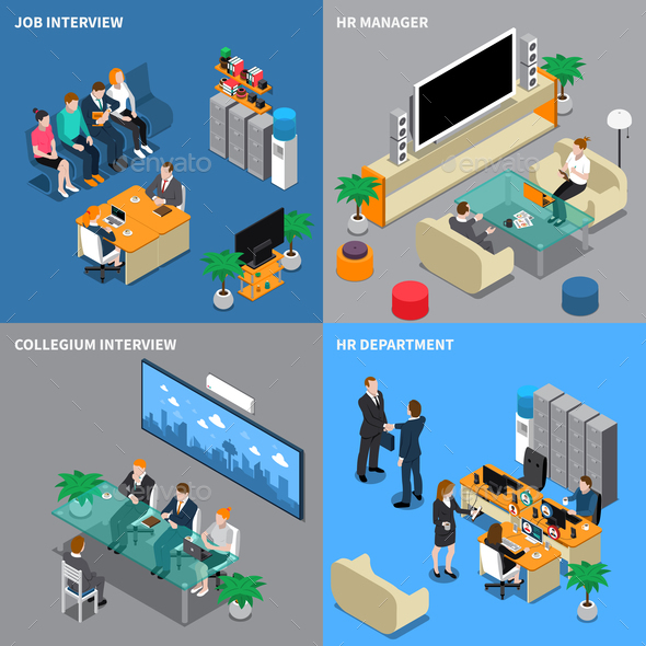 GraphicRiver Recruitment Hiring HR Management Isometric People 20664551