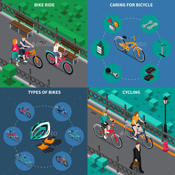 Bicycle Isometric Composition Set - People Characters