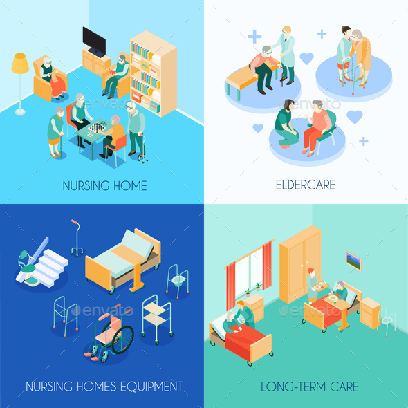 Nursing Care Concept Isometric Icons - Backgrounds Decorative