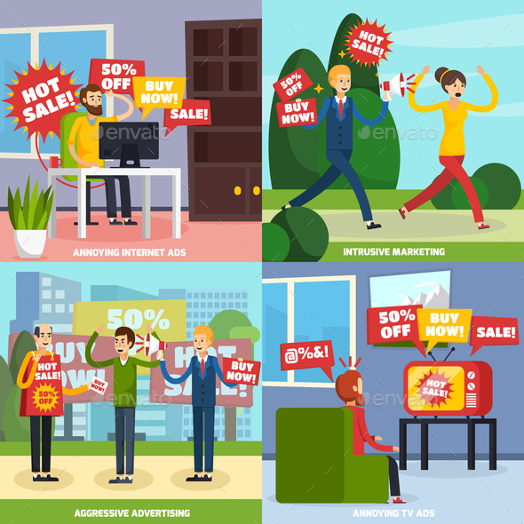 Annoying Intrusive Advertisement Icon Set - Business Conceptual
