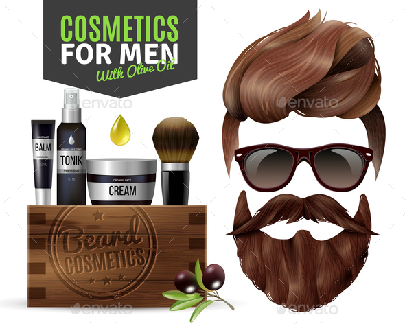 Realistic Male Cosmetics Poster - People Characters