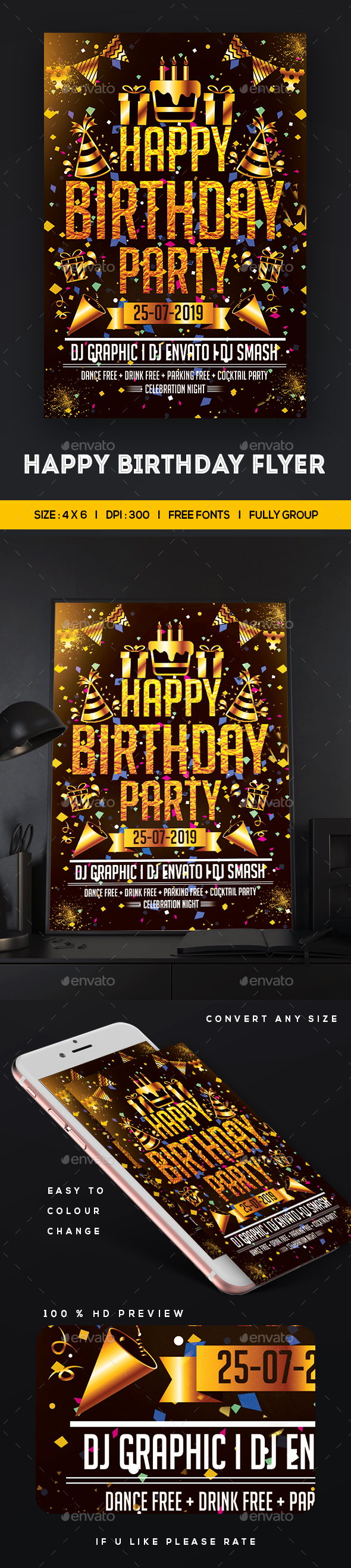 GraphicRiver Birthday Party Flyer Template 20664570