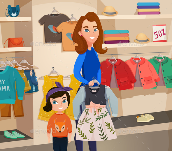 Childrens Clothing Store Illustration - Miscellaneous Vectors