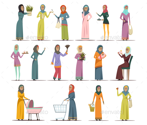 Arabic Woman Icons Set - Religion Conceptual