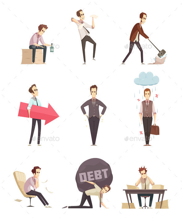 GraphicRiver Business Failure Retro Cartoon Icons 20664586