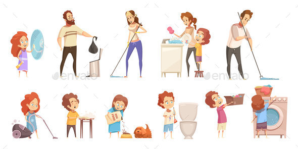 Family Cleaning Cartoon Icons Set - Miscellaneous Vectors