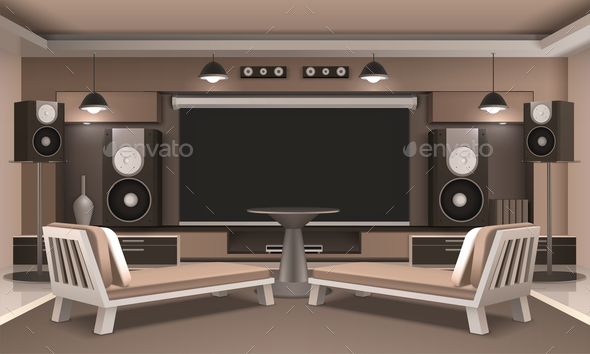 GraphicRiver Home Cinema Interior With Round Table 20664592