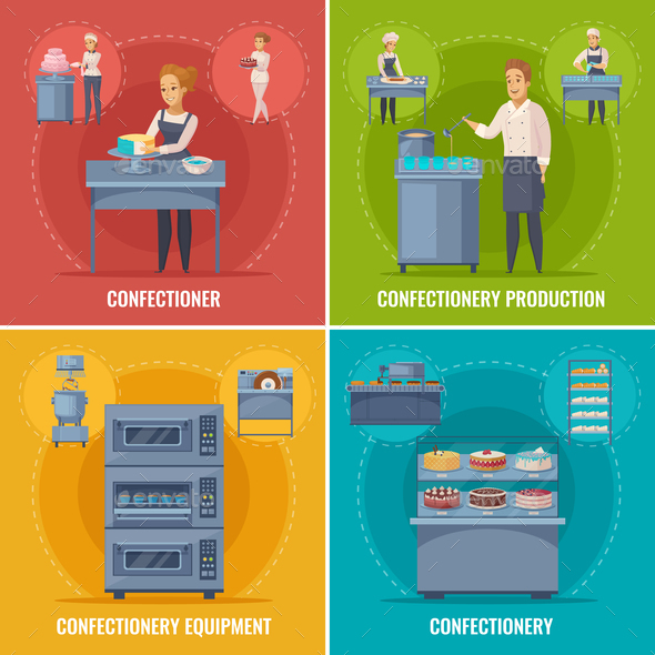 GraphicRiver Confectionery Production Cartoon Concept 20664593