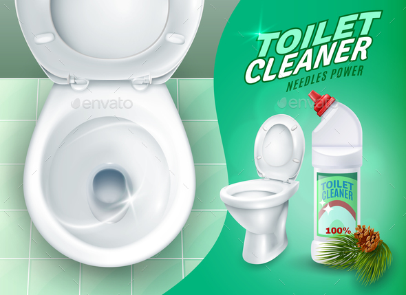 Realistic Toilet And Cleaner Gel Poster - Business Conceptual