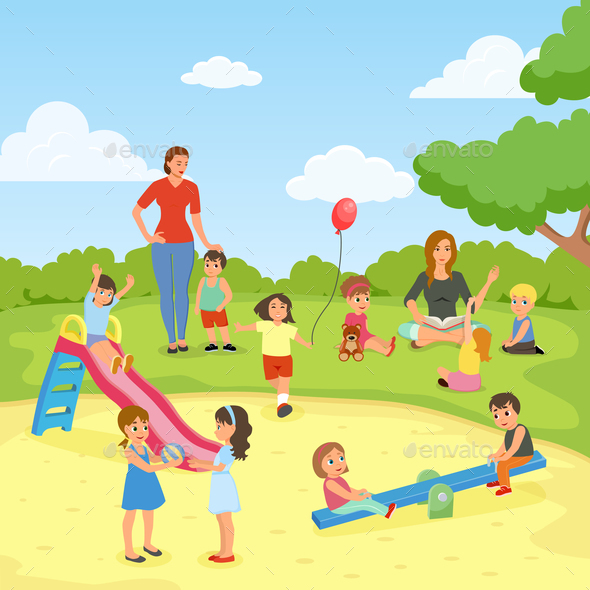 GraphicRiver Babysitters With Kids Flat Composition 20664609
