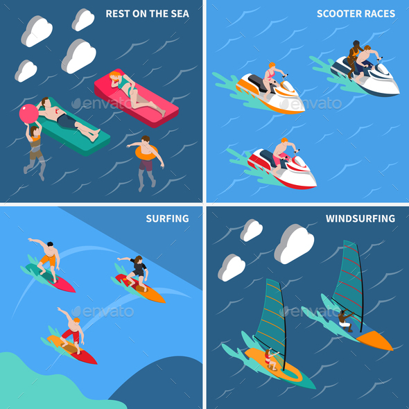 Water Sports People Icon Set - Sports/Activity Conceptual
