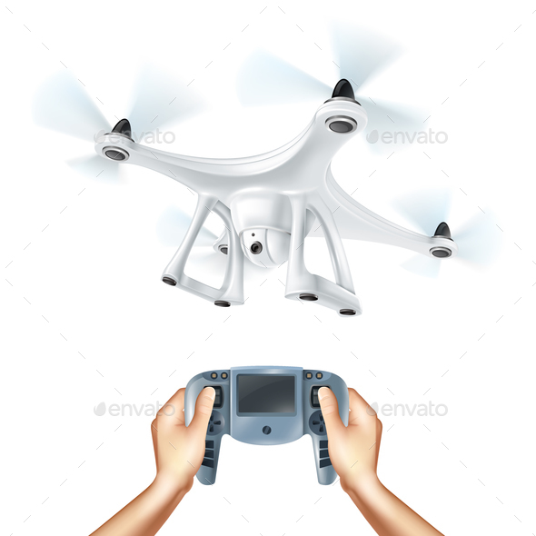 Realistic Drone Illustration - Technology Conceptual