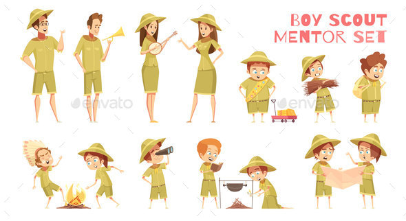 GraphicRiver Scouts Mentors Cartoon Icons Set 20664624