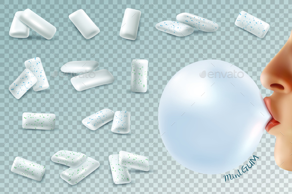 Mint Bubblegum Realistic Set - Miscellaneous Vectors