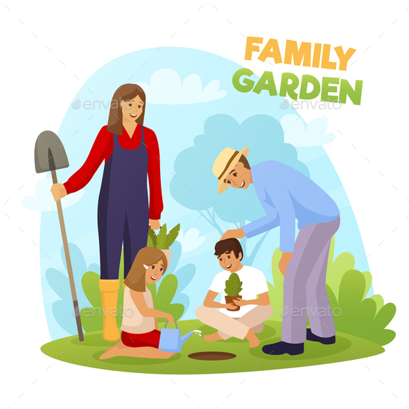 Family Garden Illustration - People Characters