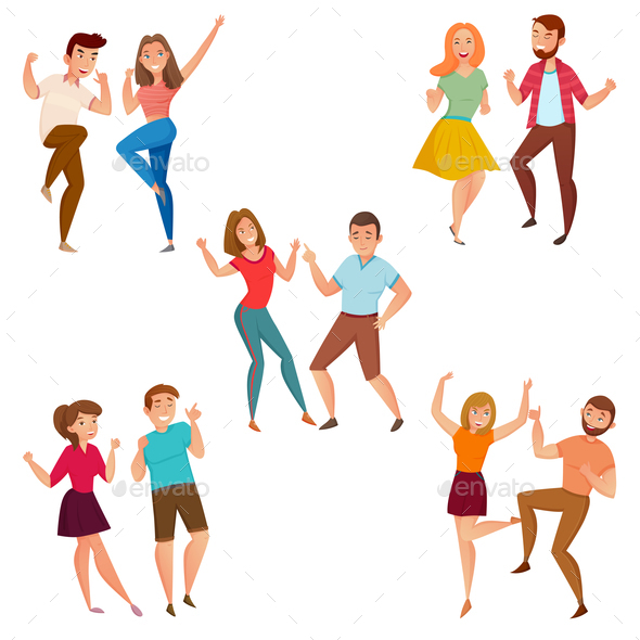 GraphicRiver Dancing People 5 Icons Composition 20664685
