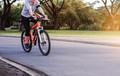 Women are cycling in parks