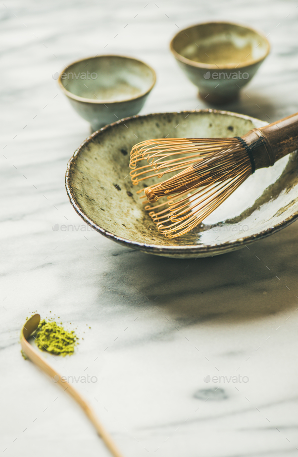 Japanese tools and bowls for brewing matcha tea, copy space - Stock Photo - Images
