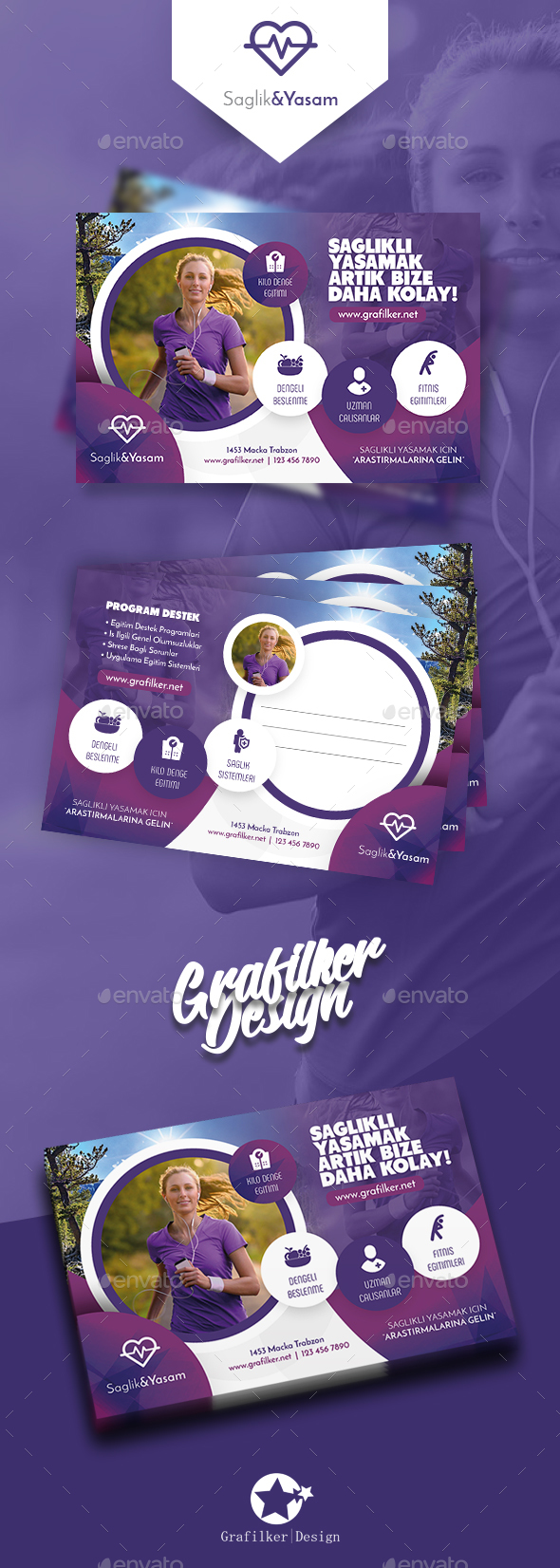 Healthy Life Postcard Templates - Cards & Invites Print Templates