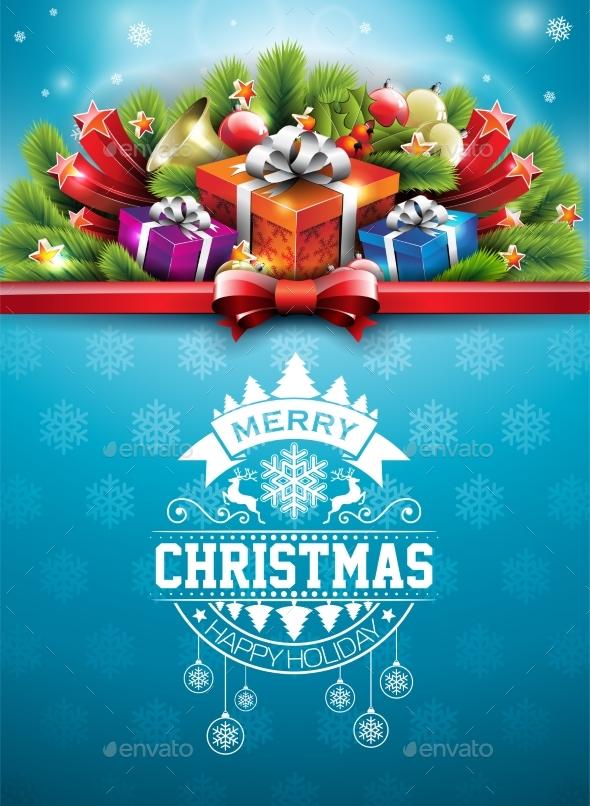 Merry Christmas Illustration with Typography - Christmas Seasons/Holidays