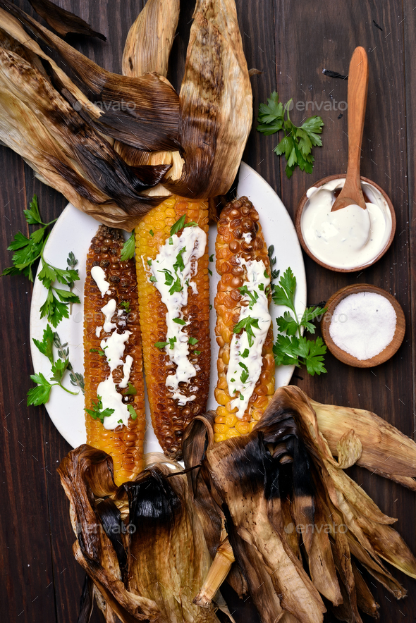 Grilled corn, top view - Stock Photo - Images