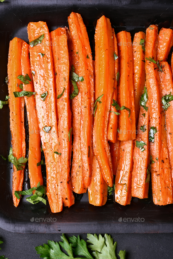 Grilled carrots, top view - Stock Photo - Images