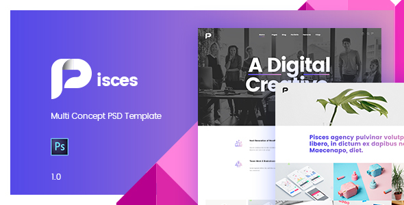 ThemeForest Pisces-Multi Concept PSD Template 20665377