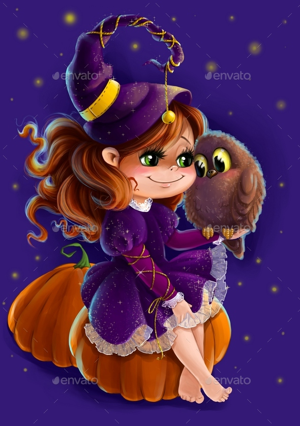 Illustration of a Halloween Witch with Owl - Characters Illustrations
