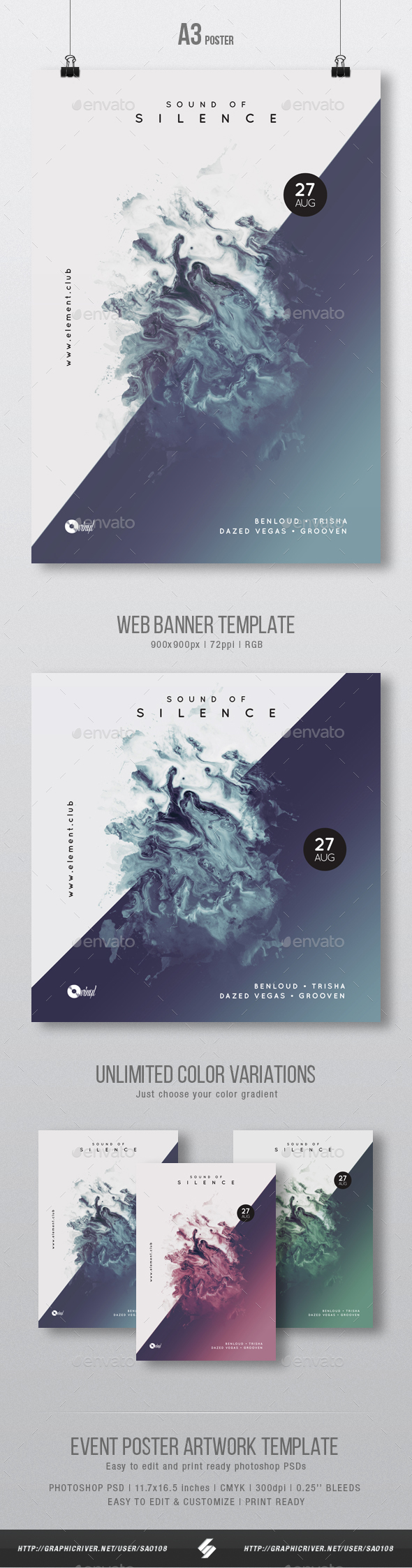 Sound Of Silence - Minimal Party Flyer / Poster Artwork Template A3 - Clubs & Parties Events
