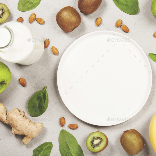 Variety of fresh fruits and nuts - Stock Photo - Images