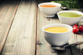 Variety of cream soups over old wood background - PhotoDune Item for Sale