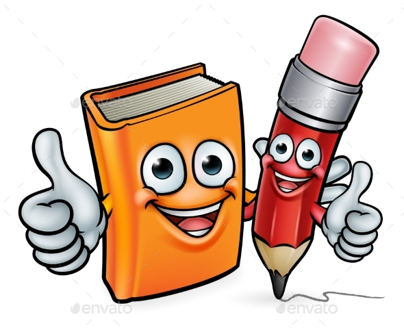 Book and Pencil Cartoon Characters - Miscellaneous Vectors